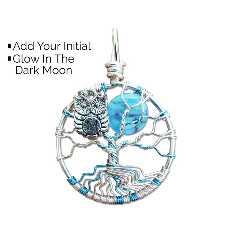 Hand Stamped Tree of Life Pendant Glow in the Dark Jewelry image 0