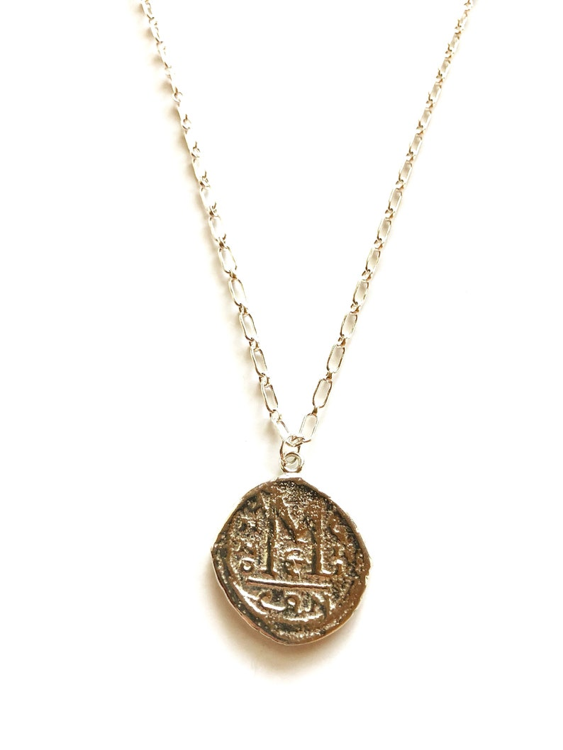 long silver necklace sterling silver necklace layering necklace Sterling Silver Coin Necklace- medallion necklace silver medallion