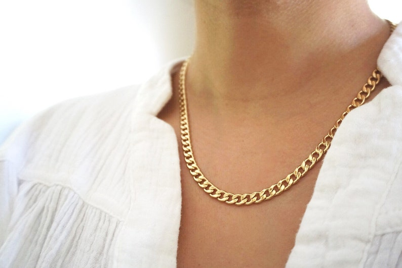 Gold Link Chain Necklace Layered Chain Gold Filled Chain image 0