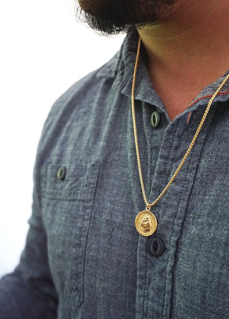 St Gold Chain Anthony Medallion Necklace Anthony Pendant Saint Anthony pendant Gold Coin Necklace Anthony Necklace Gold St Men/'s St