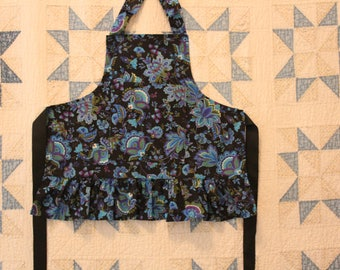 Girls Black Frilly Ruffled Apron in Blue and Purple Paisley Print. Roomy Pocket. Girls Chef Apron. Ruffled Baking Apron for Ages 4-8