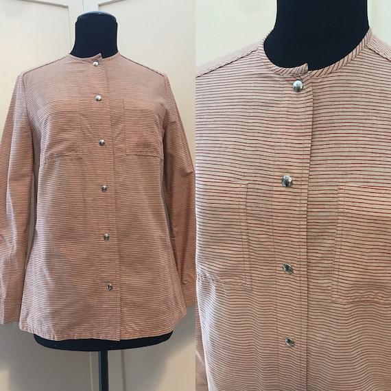 Vuokko Vintage 70s Shirt /Tunic / Stripes / Pocke… - image 1