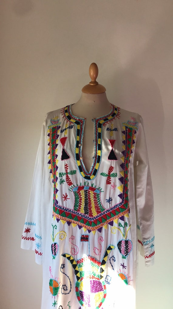 60's 70's maxidress / Cotton / Hand embroidery / W