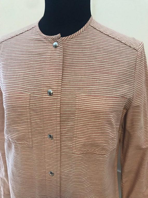 Vuokko Vintage 70s Shirt /Tunic / Stripes / Pocke… - image 2