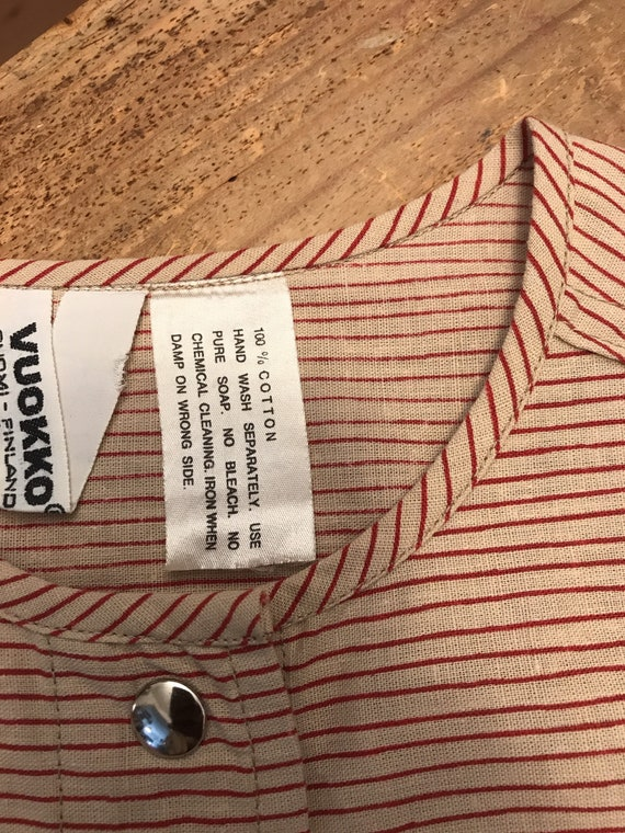 Vuokko Vintage 70s Shirt /Tunic / Stripes / Pocke… - image 10