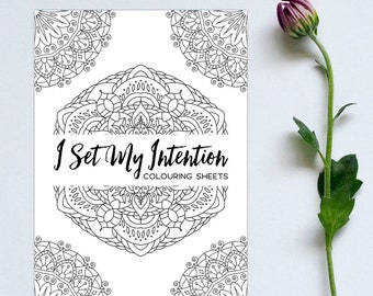 Printable Mandala Colouring Book Sheets Coloring Affirmations PDF Download For Adults Mindfulness Anti Stress Art Colour Therapy