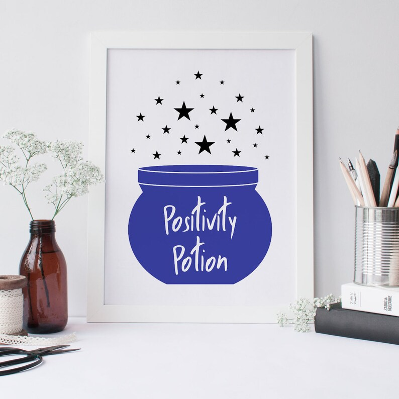 Positivity Potion Cauldron Wall Art Print  Inspirational image 0