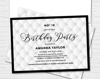 Chanel bridal shower invitation etsy black and white perfume inspired bridal shower custom shower printable bachelorette birthday custom printed shower invitation filmwisefo