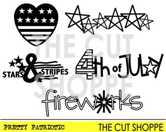 The Pretty Patriotic cut file consists of 5 Fourth of July icons, that can be used on your scrapbook and paper crafting projects.