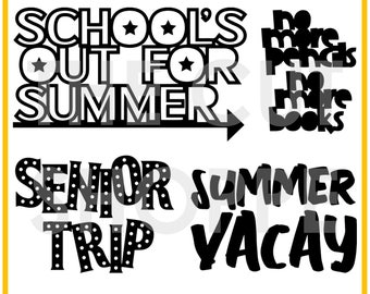 The School's Out cut file consists of 4 phrases, that can be used for your scrapbooking and papercrafting projects.