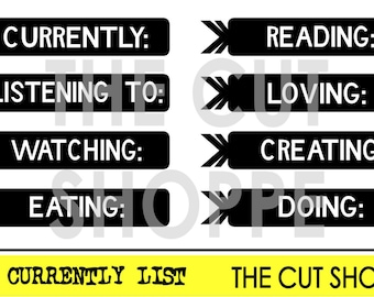 The Currenty List cut file consists of eight word phrases, that can be used on your scrapbooking and paper crafting projects.