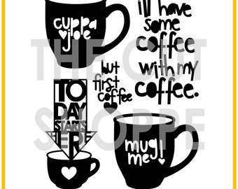 The Cuppa Joe cut file includes 5 coffee themed icons, that can be used for your scrapbooking and papercrafting projects.