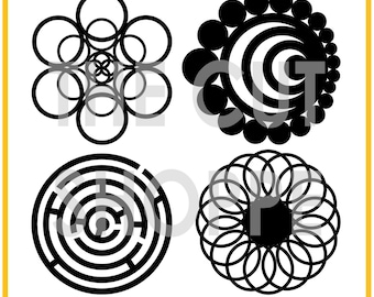 The Crop Circles cut file includes 4 circle designs, that can be used for your scrapbookinging and papercrafting projects.