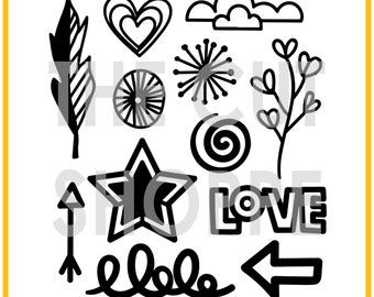 The Oodles of Doodles cut file set includes 12 doodled images, that can be used for your scrapbooking and papercrafting projects.