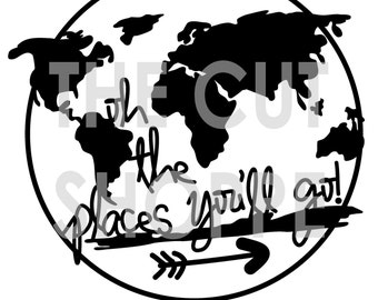 The Places You'll Go cut file is a world map and phrase icon, that can be used on your scrapbooking and papercrafting projects.