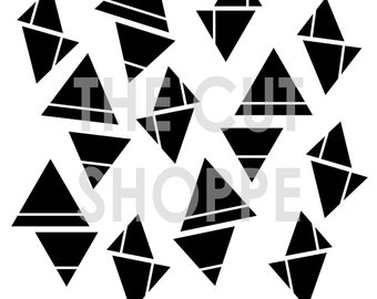 The Trippy Triangles cut file is a background cut file, that is available in 12x12 and 8.5x11 sizes.