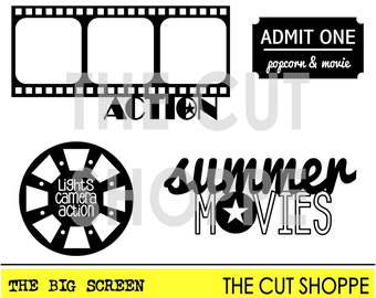 The Big Screen cut file consists of four movie themed icons, that can be used on your scrapbooking and paper crafting projects.