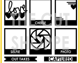 The Say Cheese cut file includes 8 photo themed icons, that can be used on your scrapbooking and papercrafting projects.