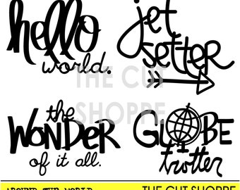 The Around the World cut file includes four phrases that can be used on your scrapbooking and papercrafting projects.