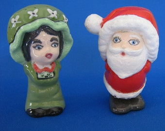 Christmas Salt and Pepper Shakers Unique Hand painted made SANTA and MRS CLAUS unusual Red Green ceramic novelty