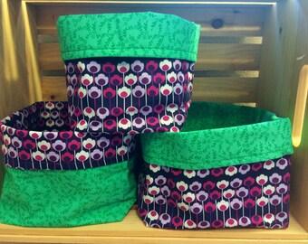 Funky Purple Floral Fabric Bins