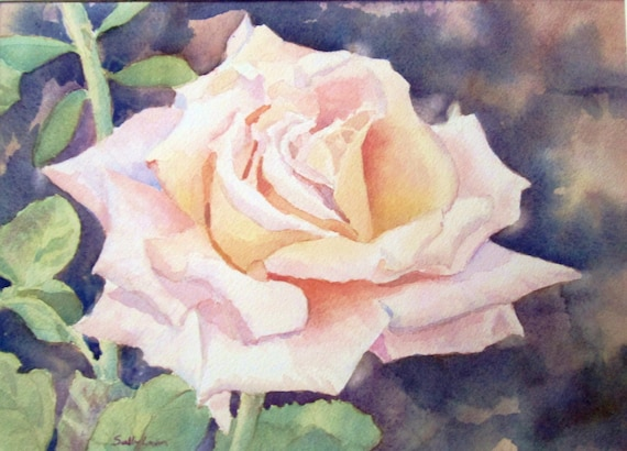 Single Pink Rose Watercolor Painting Flowers Original Etsy