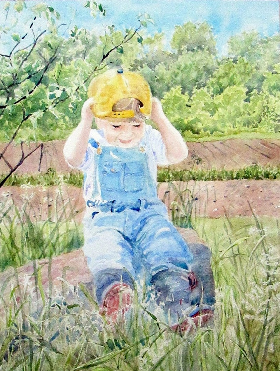 Little Boy Farm Painting Dad's Hat Original Watercolor Painting Spring Farm Painting 12 x 16 inches matted to 16 x 20 inches Sally Lavin