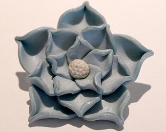 Polymer Clay Blue Flower Brooch