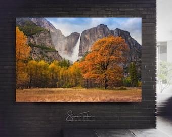 Large Yosemite Canvas, Yosemite National Park Home Decor, Yosemite Photography, Large Autumn Art, Scenic Office Decor, California Waterfall
