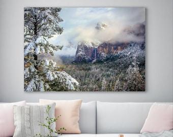Yosemite Winter Print, California Park Home Decor, Serene Moody Canvas, Yosemite Black and White, Stormy Mountain Print, Yosemite Fine Art