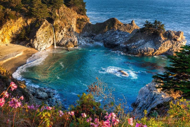 McWay Falls Big Sur Photography Large California Canvas Waterfall Photo Whimsical Coastal Home Decor Sea Blue Beach Print Fine Art