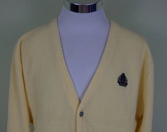 Vintage Izod Yellow Cardigan Sweater Size Large