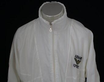 Vintage Men's White Full Zip Jacket ARMANI SPORT AM9ge