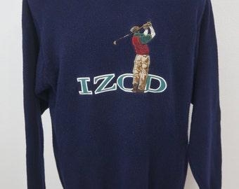 Vintage Izod Sweater with Graphic Golfer - Vintage Golfer Sweater - Navy  Blue - Men s Medium 3d89a712a734