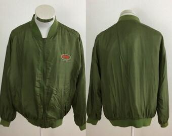 5eed5cd014 Vintage Perry Ellis Green Silk Full Zip Jacket Size Medium