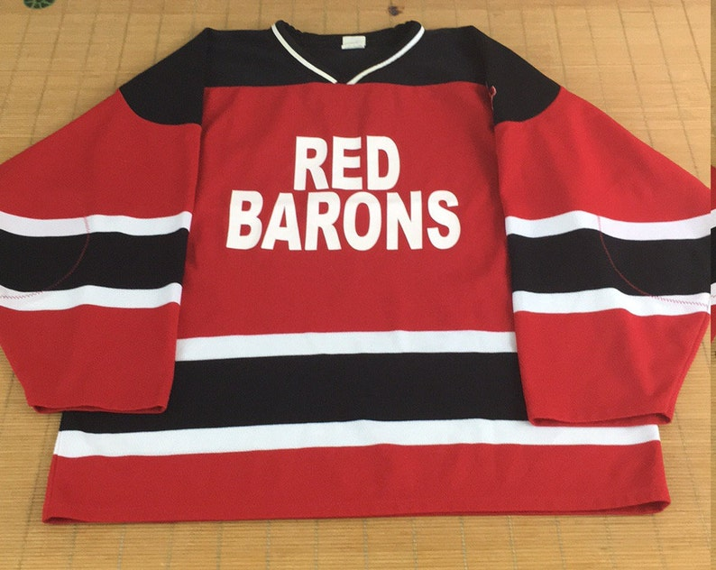 Athletic Knit Snoopy Hockey Jersey Red Barons Johnson #10 Size XL