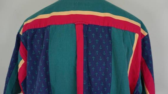 Nautica Vintage bouton vers vers bouton le bas des manches courtes demi chemise rayures colorées taille XL b20cd5