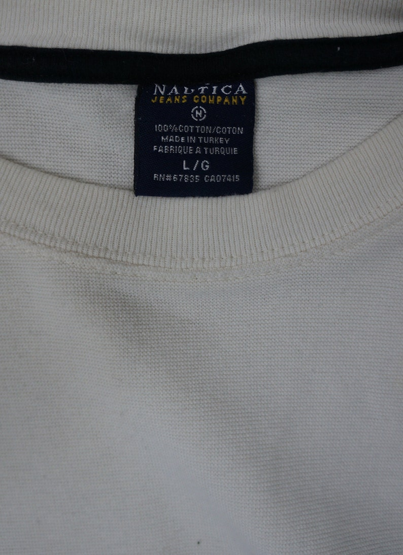 Vintage Nautica Jeans Company Long Sleeve Pullover Sweater Size Large Beige NJC-45