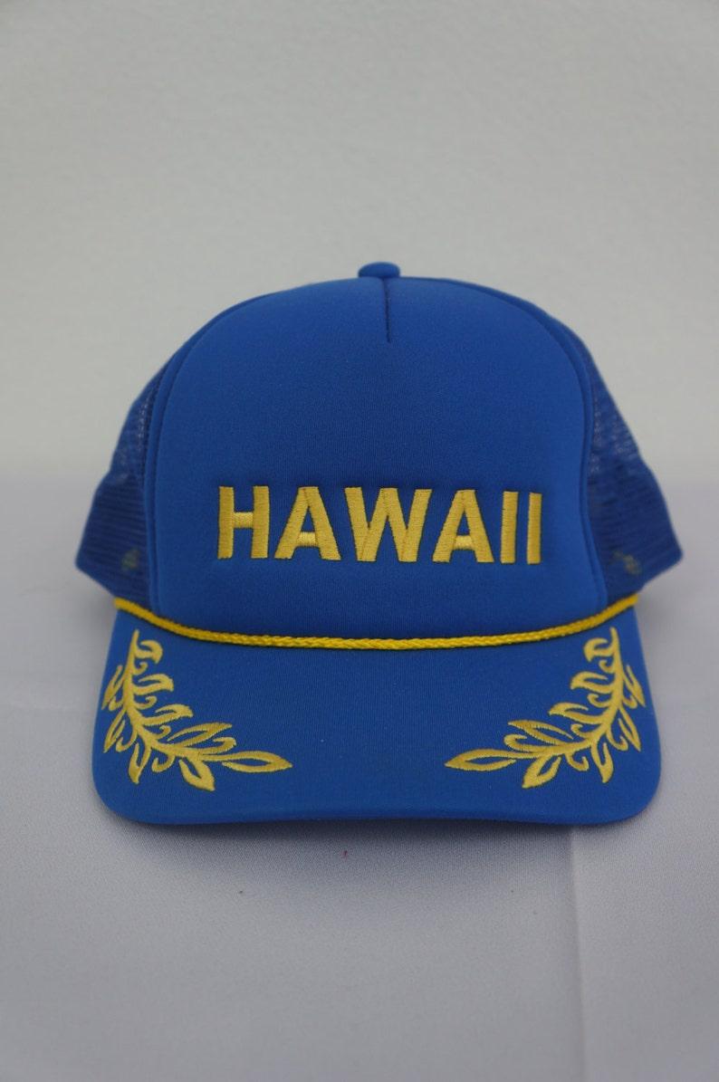 d869749d023 Vintage retro magic cap hawaii yellow embroidered blue mesh etsy jpg  794x1195 Etsy trucker snapback mesh