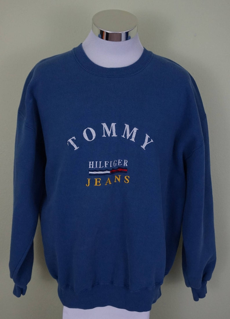 d8d208121 Tommy Hilfiger Jeans Vintage Blue Pullover Sweatshirt Size XL | Etsy