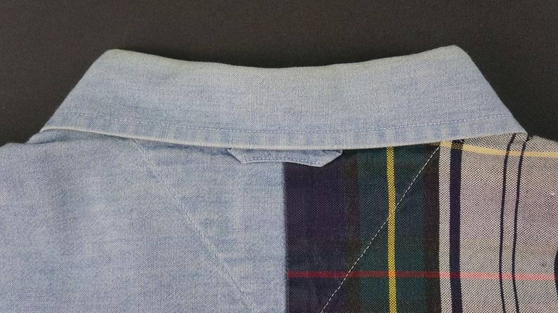 Vintage Tommy Hilfiger Button Down Half Denim Half Plaid Shirt Mens Size M
