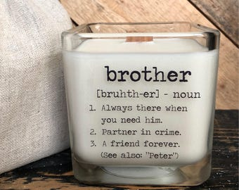Brother Gift Gifts For Brithers Candle With Message Birthday Definition