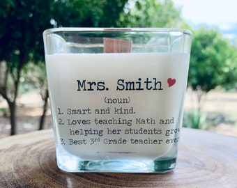 Personalized Teacher Gift, Gift For Teacher, Candle Gift For Teacher, Personalized Candle For Teacher Gift, Woodwick Candle