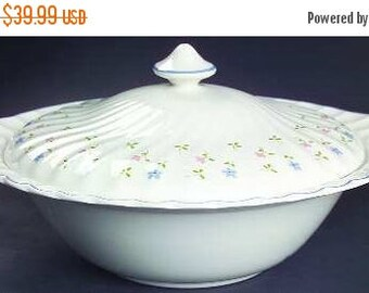 ON SALE MINT Johnson Brothers Melody Round Covered Vegetable Serving Bowl Blue & Pink Floral