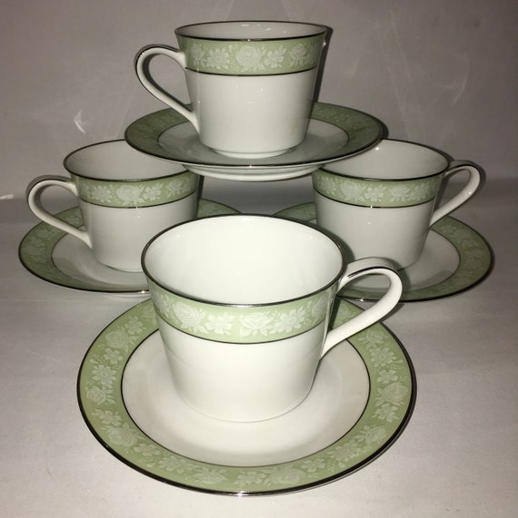 2 Sango Platina Cup and Saucer-White with a Grey Band and Platinum trim