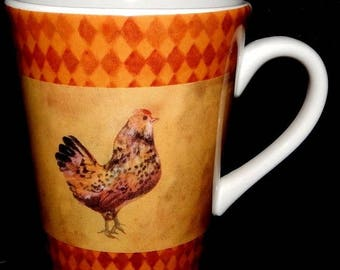 "ON SALE Sango RUSTIC Rooster Mug Sue Zipkin Design, Dinnerware Excellent Condition 4 3/8"" tall"