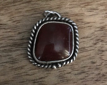 Sterling Silver Pendant with Red Tigers Eye