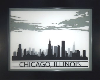 Chicago skyline silhouette - 3D laser cut cityscape silhoette wall decor 11x14 - graduation wedding engagement business gift