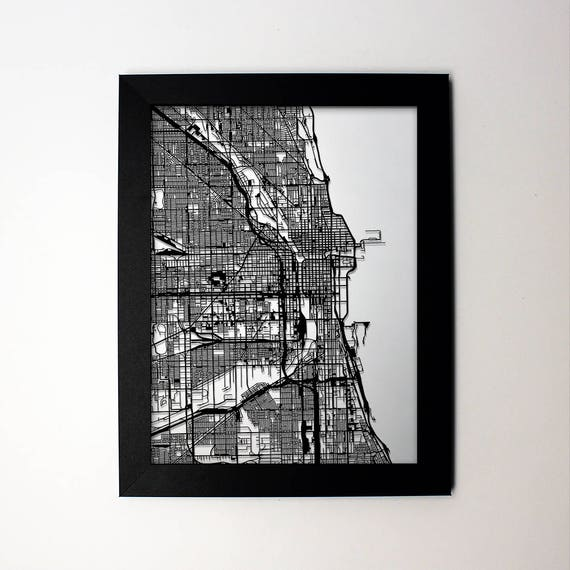 Chicago Map Laser Cut Map Chicago Illinois Map of Chicago | Etsy