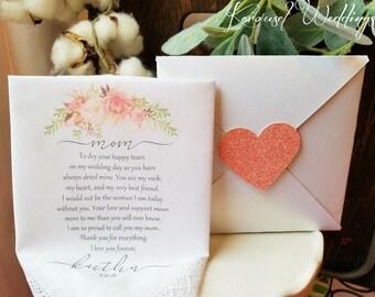Mother of the Bride Hankerchief-Wedding Handkerchief-PRINTED-CUSTOMIZED Mother of the bride Gift. BOHO weddings. Rustic wedding ideas
